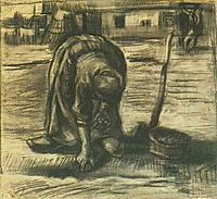 Peasant Woman, Planting Potatoes, 1885, vangogh