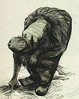Peasant Woman Stooping and Gleaning, 1885, vangogh