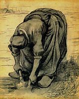 Peasant Woman, Stooping with a Spade, Digging Up Carrots, 1885, vangogh