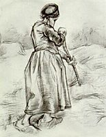Peasant Woman, Tossing Hay, Seen from the Back, 1885, vangogh