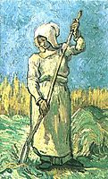 Peasant Woman with a Rake after Millet, 1889, vangogh