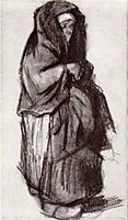 Peasant Woman with Shawl over her Head, Seen from the Side, 1885, vangogh