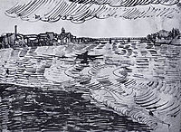 Rhone with Boats and a Bridge, 1888, vangogh