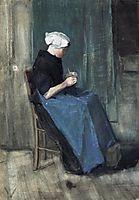 Scheveningen Woman Knitting, 1881, vangogh