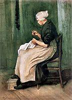 Scheveningen Woman Sewing, 1882, vangogh