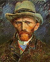 Self Portrait with a Grey Felt Hat, vangogh