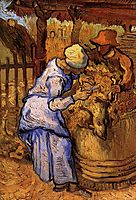 Sheep-Shearers, The after Millet, 1889, vangogh