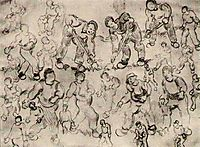 Sheet with Numerous Figure Sketches, 1890, vangogh