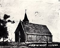 Shepherd with Flock near a Little Church at Zweeloo, 1883, vangogh