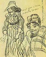 Sketch of a Lady with Striped Dress and Hat and of Another Lady, Half-Figure, 1890, vangogh