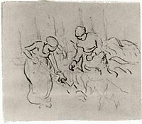 Sketch of Women in a Field, vangogh