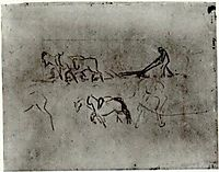 Sketches of Peasant Plowing with Horses, 1890, vangogh