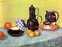 Still Life with Blue Enamel Coffeepot, Earthenware and Fruit, 1888, vangogh
