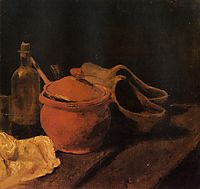 Still Life with Earthenware, Bottle and Clogs, 1885, vangogh