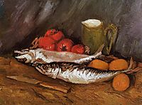 Still Life with Mackerels, Lemons and Tomatoes, 1886, vangogh