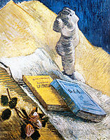 Still Life with Plaster Statuette, a Rose and Two Novels, 1887, vangogh