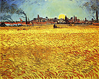 Summer Evening, Wheatfield with Setting sun , 1888, vangogh