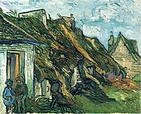 Thatched Sandstone Cottages in Chaponval, 1890, vangogh