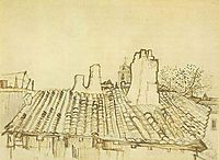 Tiled Roof with Chimneys and Church Tower, 1888, vangogh