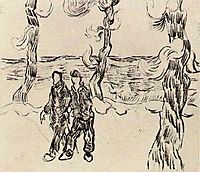 Two Men on a Road with Pine Trees, 1890, vangogh