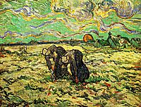 Two Peasant Women Digging in Field with Snow, 1890, vangogh