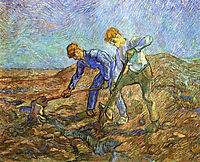 Two Peasants Diging (after Millet) , 1889, vangogh