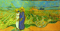 Two Women Crossing the Fields , 1890, vangogh