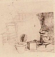Unfinished Sketch of an Interior with a Pan above the Fire, 1881, vangogh