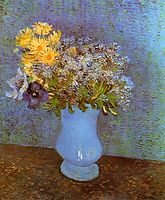 Vase with Lilacs, Daisies and Anemones, 1887, vangogh