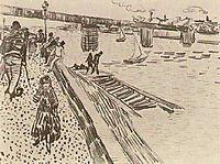 View of a River, Quay, and Bridge, 1888, vangogh