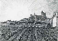 View of Saintes-Maries with Church and Ramparts , 1888, vangogh