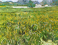 Wheat Field at Auvers with White House , 1890, vangogh