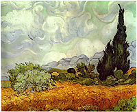 Wheatfield with Cypresses, 1888, vangogh