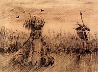 Wheatfield with a Stook and a Mill, 1885, vangogh