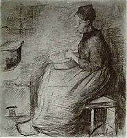 Woman, Sitting by the Fire, Peeling Potatoes, 1885, vangogh