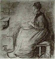 Woman, Sitting by the Fire, Peeling Potatoes, 1885, vangogh