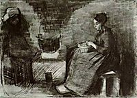 Woman, Sitting by the Fire, Peeling Potatoes, Sketch of a Second Figure, 1885, vangogh