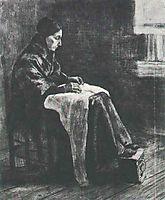 Woman with Shawl, Sewing, 1883, vangogh