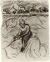 Woman Working in Wheat Field, 1890, vangogh