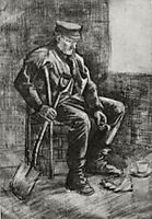 Workman with Spade, Sitting near the Window, 1883, vangogh