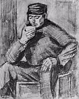 Young Man, Sitting with a Cup in his Hand, Half-Length, 1883, vangogh