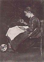 Young Woman Sewing, 1881, vangogh