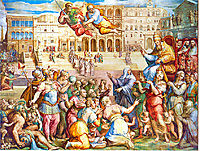 Catherine of Siena escorted pope Gregory XI at Rome on 17th January 1377, vasari