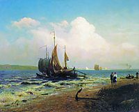 At the River. Windy Day, 1869, vasilyev
