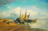 Barges on Volga, 1870, vasilyev