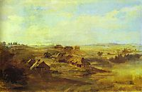 Landscape with Peasant-s Huts and Pond near St. Petersburg, 1871, vasilyev