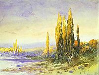 Lombardy Poplars on the Bank of a Lake. Evening, vasilyev