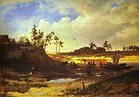 Peasants with a Boat on a Sandy Beach, 1868, vasilyev