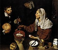 Old Woman Frying Eggs, 1618, velazquez