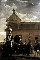 Prince Baltasar Carlos with the Count-Duke of Olivares at the Royal Mews, 1636, velazquez